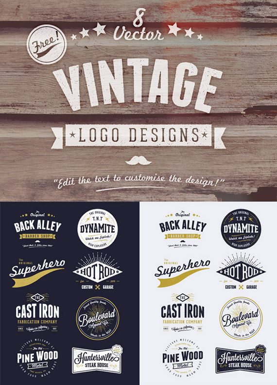 Customizable Vector Vintage Style Logo Designs