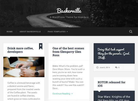 Baskerville: Plantilla grid y flat para WordPress