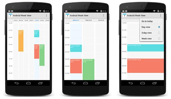 calendario con vista semanal para android
