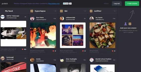 Picdeck: Visor de Instagram estilo Tweetdeck