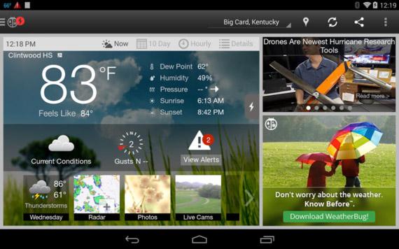 Las mejores aplicaciones Android para saber el clima
