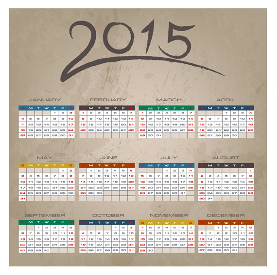 Brush Stroke Calendar 2015