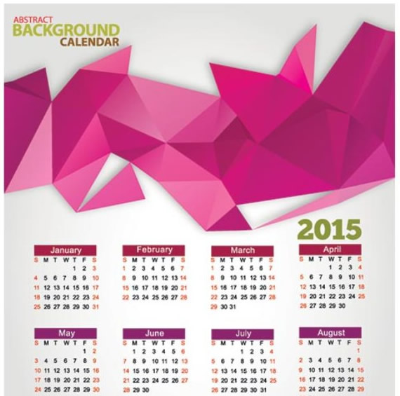 Creative Pink Triangle Calendar 2015