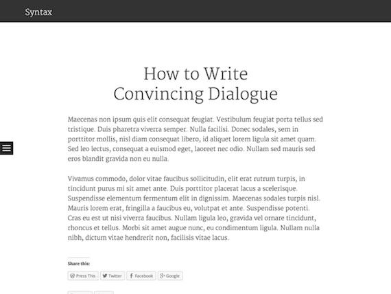 Syntax: plantilla liviana para WordPress
