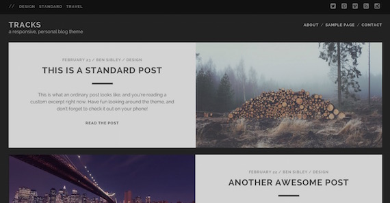 Tracks - plantillas livianas para WordPress