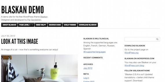 Blaskan: plantilla liviana para WordPress