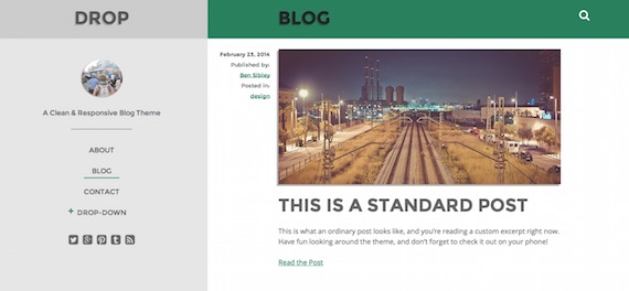 Drop: plantilla liviana para WordPress