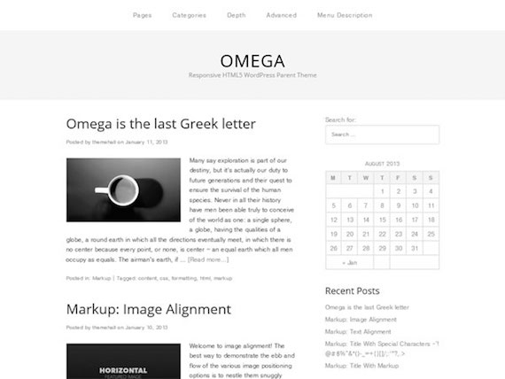 Omega: plantilla liviana para WordPress