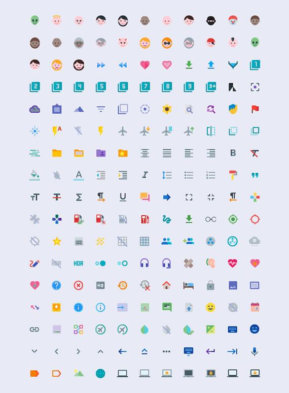 Iconos planos para Material Design