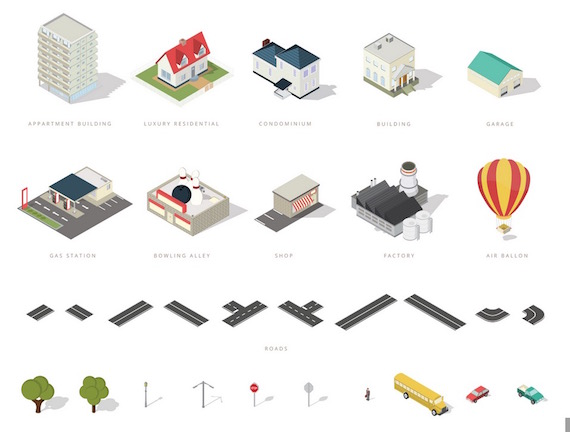 Free Isometric Map Icons