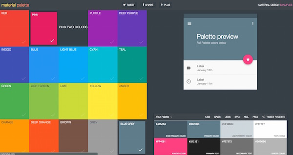 paletas de colores con alternativas Material Design