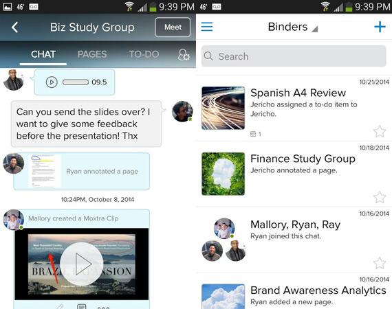 Gestionar proyectos grupales en Android con Moxtra
