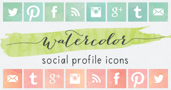 Recursos estilo acuarela - Iconos sociales estilo acuarela