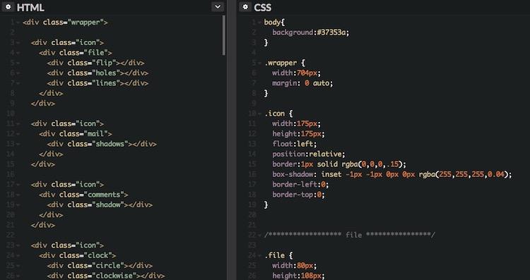 Colección de iconos estilo plano en CSS