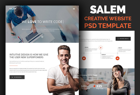 Clean and Bold Website Template PSD