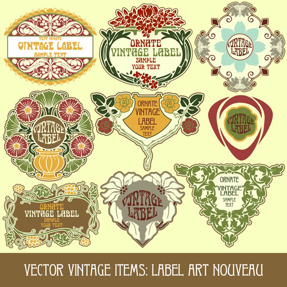 Emblemas y etiquetas vectorizadas con estilo Art Nouveau