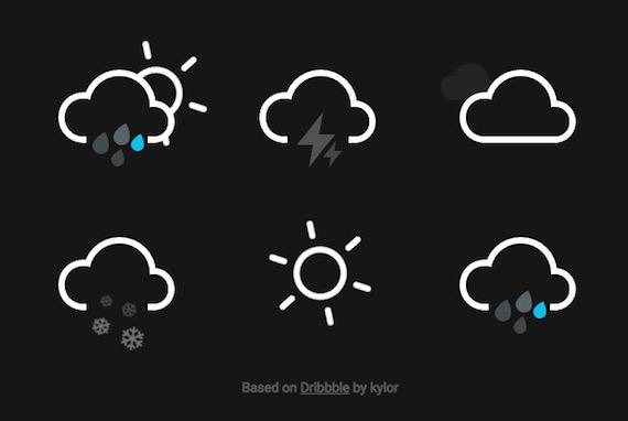 Iconos animados sobre el clima