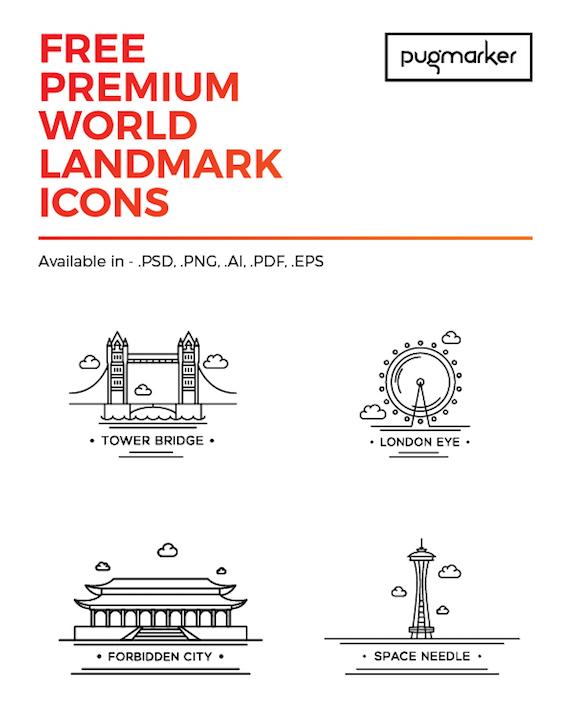 Puntos de referencia mundial en iconos de líneas