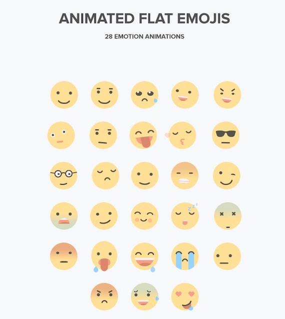 Vista previa de emoticones animados estilo plano