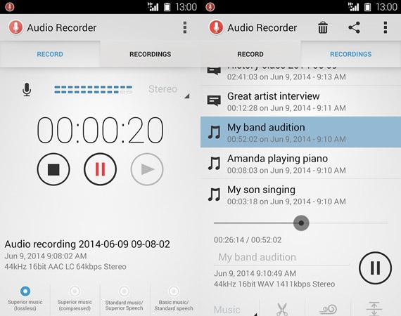 Aplicaciones para grabar sonido con Android