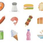 Iconos de alimentos con estilo plano