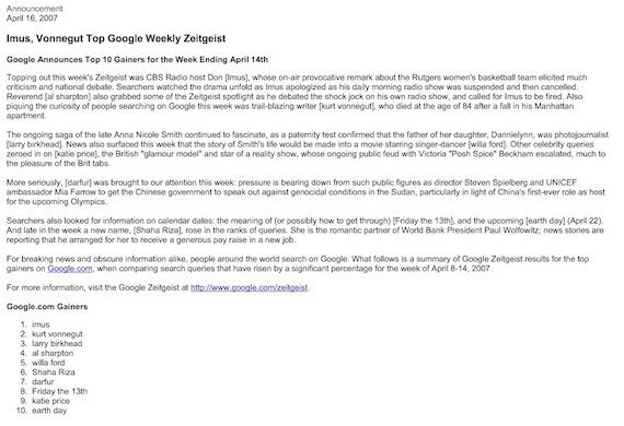 Google Zeitgeist: 14 de Abril 2007