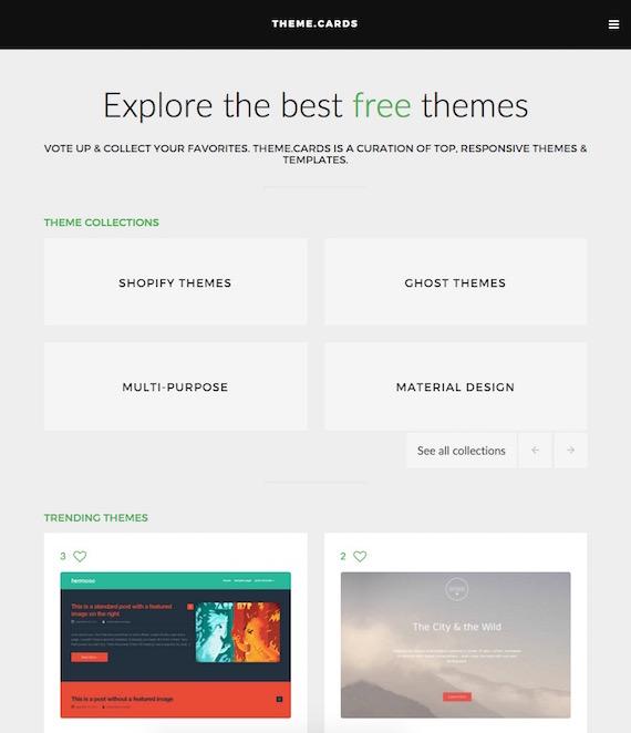 Plantillas web gratuitas, biblioteca Theme.cards