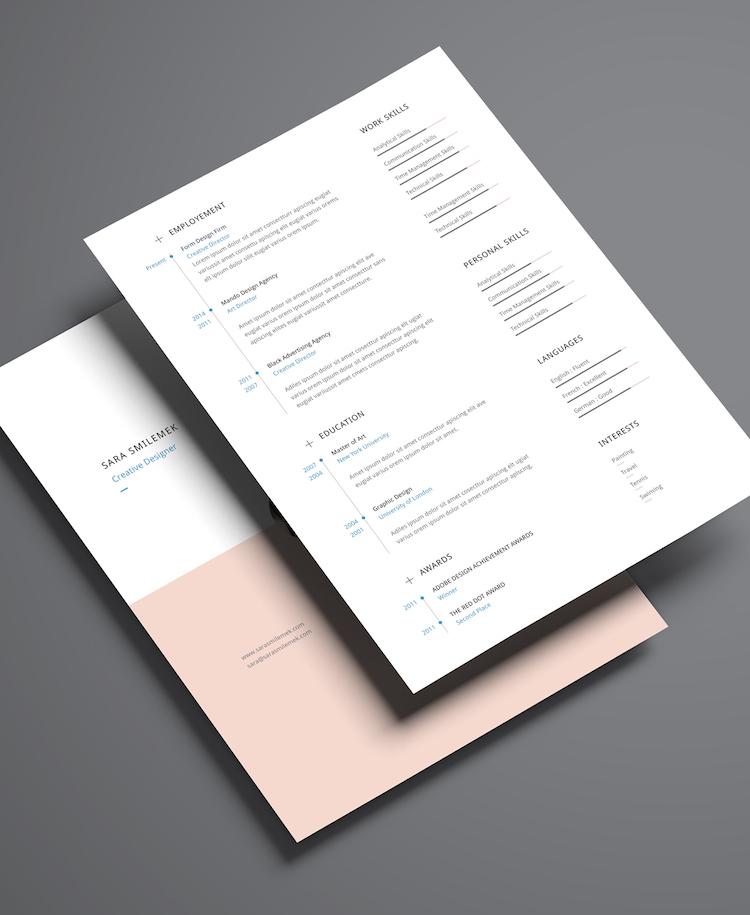 Curriculum vitae de cuatro carillas estilo minimalista