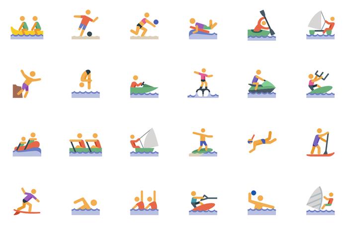 Iconos sobre deportes acuáticos en formato .svg